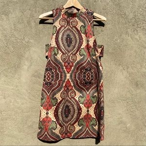 Fashion Union Paisley A-Line Dress Cutout Dress S
